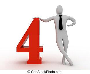 vier, 3d, halten, zahl, mann