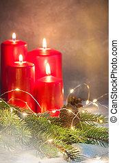 vier, advent, rood, christmascandles, krans, regeling, met, een, copyspace
