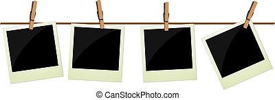 vier, afbeeldingen, polaroid, hangend