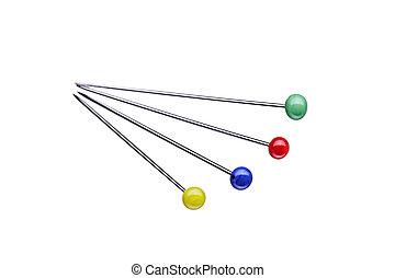 vier, anders, naaiende spelden, met, ronde, rode hoofden, vrijstaand, op wit, achtergrond