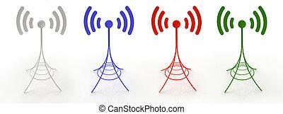 vier, antennen, schicken, radiowellen