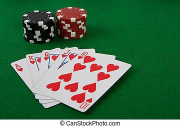 vier asse, mit, poker- späne