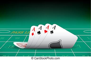 vier asse, spielen karte