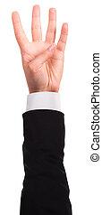 vier, ausstellung, hand, finger, freigestellt
