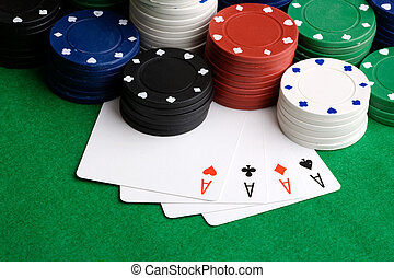 vier azen, -, kaarten