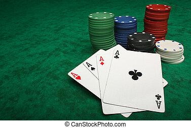 vier azen, met, gokkende spaanders, op, groen vilt