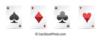 vier azen, pook, spelend, kaarten.