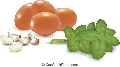 vier, basilikum, eier, knoblauch
