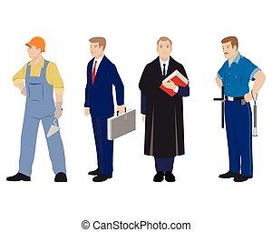 vier, beroep, mensen