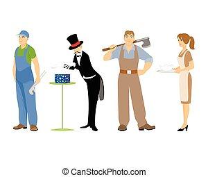 vier, beroepen, witte achtergrond