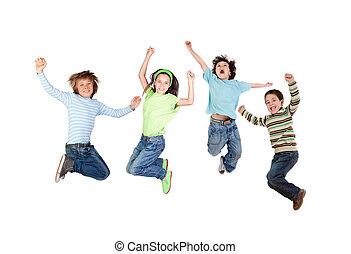 vier, blij, kinderen, springt