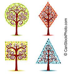 vier, bomen., geometrisch