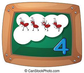 vier, bord, mieren