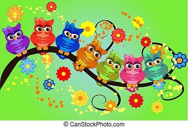 vier, branches., valentine, zittende , uitnodigingen, groet, stellen, uilen, communie, plakboek, kaarten, enz., kaarten, aardig