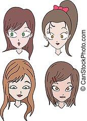 vier, bruin haar, vrouwen