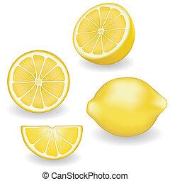 vier, citroenen, aanzichten