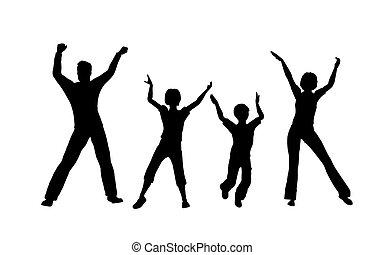 vier, dans, gezin