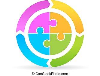 vier, diagram, deel, leeg, cyclus