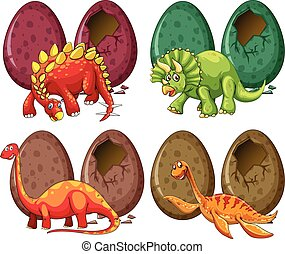 vier, dinosaurier, eier, arten