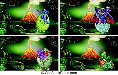 vier, dinosaurier, eier, szenen, schraffierung