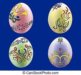 vier, eier, gefärbt