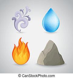 vier, element, -, aarde, lucht, vuur, en, water