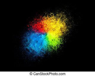 vier, farbe, staub, partikel, explosion