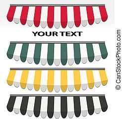 vier, farbe, verschieden, vektor, markisen