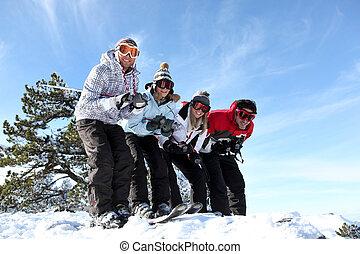 vier, feiertag, friends, zusammen, ski fahrend