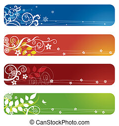 vier, floral, banieren, bookmarks, of