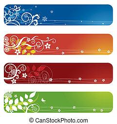 vier, floral, banieren, of, bookmarks