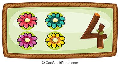 vier, frame, bloemen