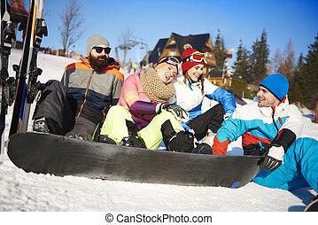 vier, friends, schnee, snowboarders