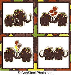 vier, gekke , iconen, olifanten