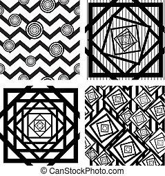 vier, geometrisch, set, achtergronden, seamless