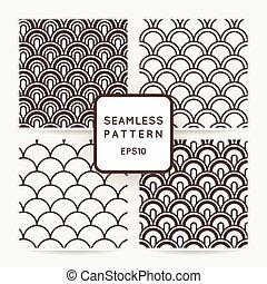 vier, geometrisch, set, pattern., seamless