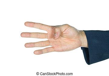 vier, geschäftsmann, weißes, finger, freigestellt