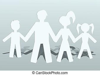 vier, gezin