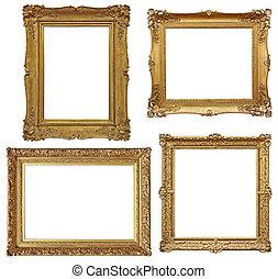vier, gouden, barok, lege, lijstjes