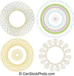 vier, grafik, spirale, elemente