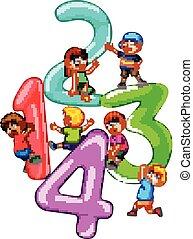 vier, groß, spielende , zahl, kinder, eins