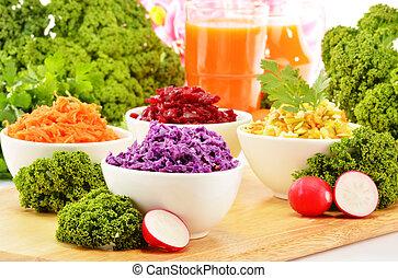 vier, groente, kommen, slaatje, samenstelling