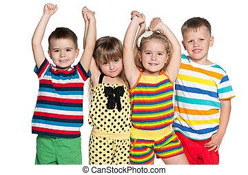 vier, groep, blij, kinderen