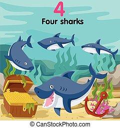 vier, haaien, illustrator, getal