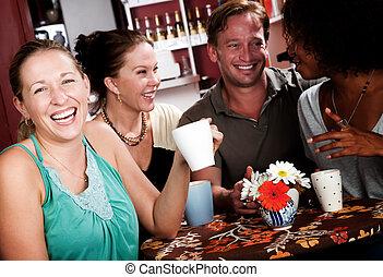 vier, haus, bohnenkaffee, friends