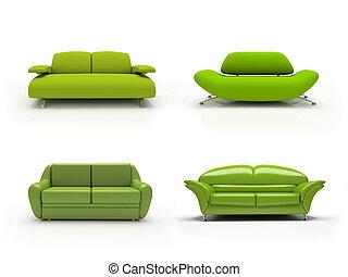 vier, hintergrund, freigestellt, 3d, sofas, weißes, grün, modern