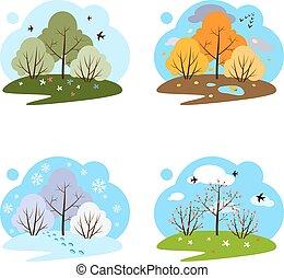 vier, hintergrund., weißes, illustrationen, seasons.