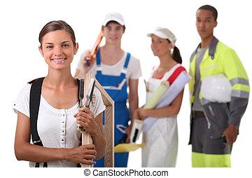 vier, industrie, bouwsector, groep, leerlingen