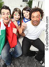 vier, italiaanse , voetbal, aanhang