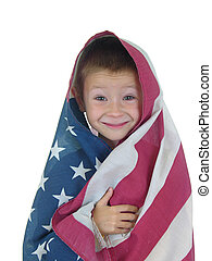 vier, jongen, vlag
